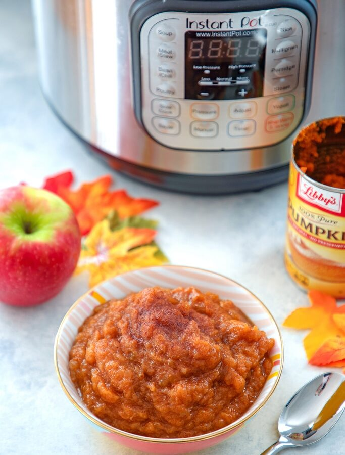 Pumpkin Pie Applesauce {in the Instant Pot} -- You don't have to decide between apples and pumpkins this fall! Enjoy them together with this Pumpkin Pie Applesauce made in the Instant Pot! It's the easiest and quickest applesauce ever, but if you don't have a pressure cooker, it can also be made in a slow cooker or on the stovetop | wearenotmartha.com
