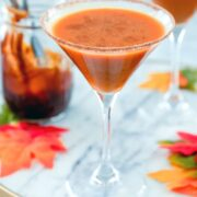 Pumpkin Pie Martini -- This pumpkin pie martini is basically a pumpkin pie in a cocktail glass. Made with pumpkin puree, vanilla vodka, and a pumpkin caramel syrup, it's a pumpkin cocktail that will have you in the fall spirit in no time   wearenotmartha.com