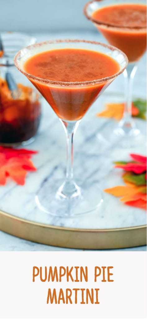 Pumpkin Pie Martini -- This pumpkin pie martini is basically a pumpkin pie in a cocktail glass. Made with pumpkin puree, vanilla vodka, and a pumpkin caramel syrup, it's a pumpkin cocktail that will have you in the fall spirit in no time | wearenotmartha.com #pumpkin #martini #cocktail #pumpkinspice