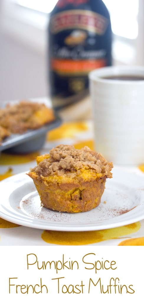 Pumpkin Spice French Toast Muffins -- These Pumpkin Spice French Toast Muffins combine two of your favorite breakfast foods into one delicious treat and are made with pumpkin spice coffee creamer! | wearenotmartha.com #coffeecreamer #frenchtoast #muffins #pumpkinspice