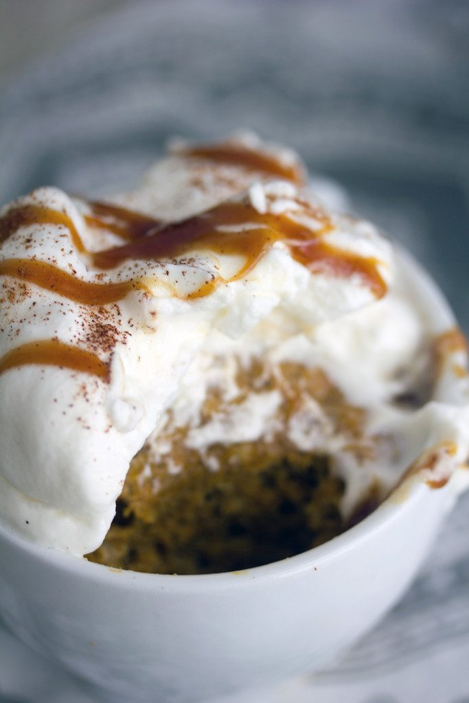 Pumpkin Spice Latte Mug Cake -- A seasonal dessert that takes just a minute to bake! | wearenotmartha.com