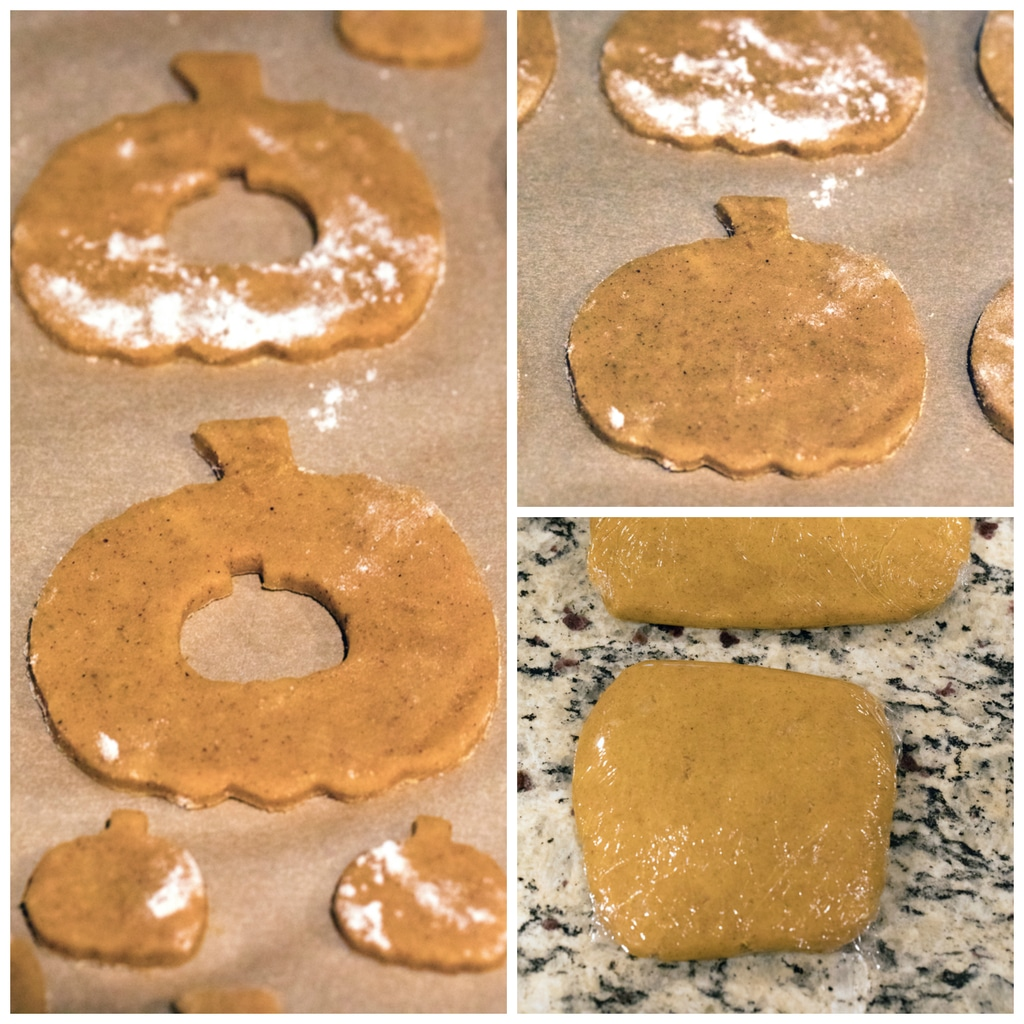 Collage showing process for making pumpkin spice linzer cookies, including dough wrapped in parchment paper, pumpkin-shaped cookies cut out of dough, and pumpkin shapes in dough with mini pumpkins cut out of the middle of them