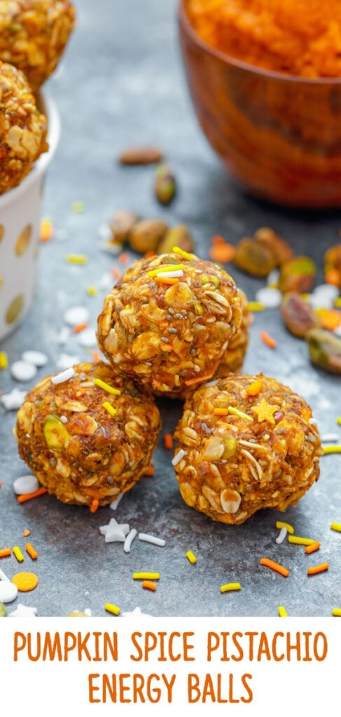 These Pumpkin Spice Pistachio Energy Balls are packed with heart-healthy ingredients like pumpkin, almond butter, pistachios, oats, flaxseed, and chia seeds and are sure to give you an extra little boost of energy and happiness any time of day! | wearenotmartha.com