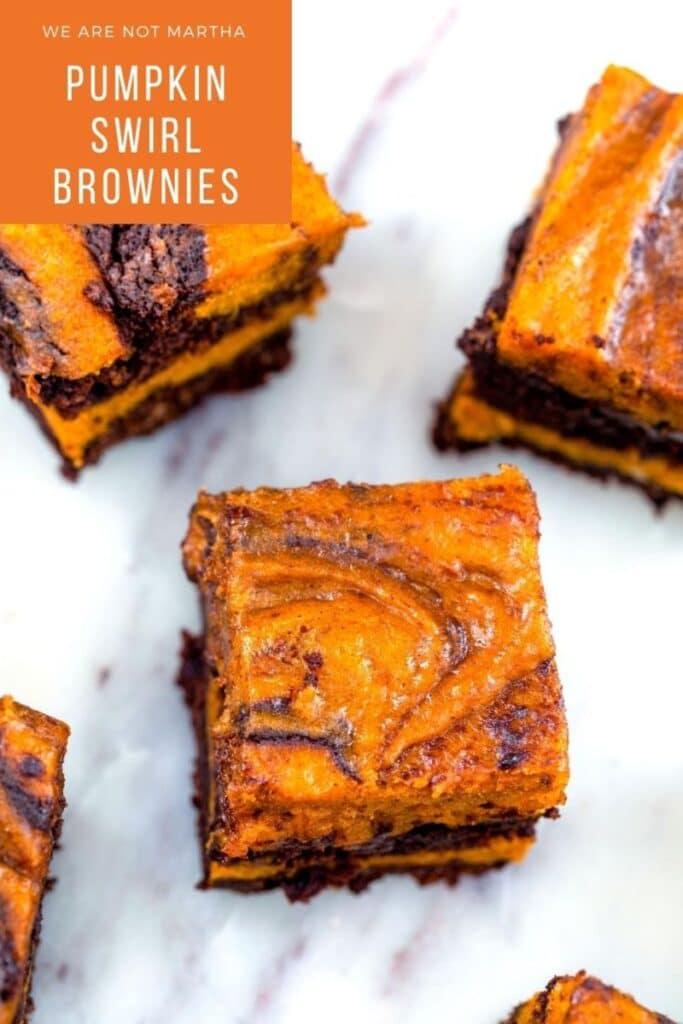 These Pumpkin Swirl Brownies are the perfect pumpkin and chocolate combination and a delightful fall dessert!   wearenotmartha.com #pumpkin #pumpkinbrownies #brownierecipes #chocolaterecipes