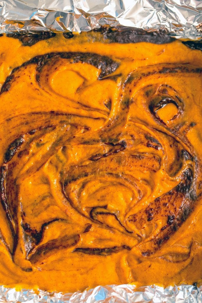 Overhead view of pumpkin and chocolate batters swirled together in a pan before going in the oven