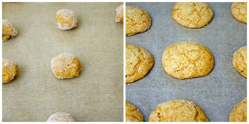 Collage showing dough balls coated in sugar on parchment paper-lined baking sheet and cookies baked just out of the oven
