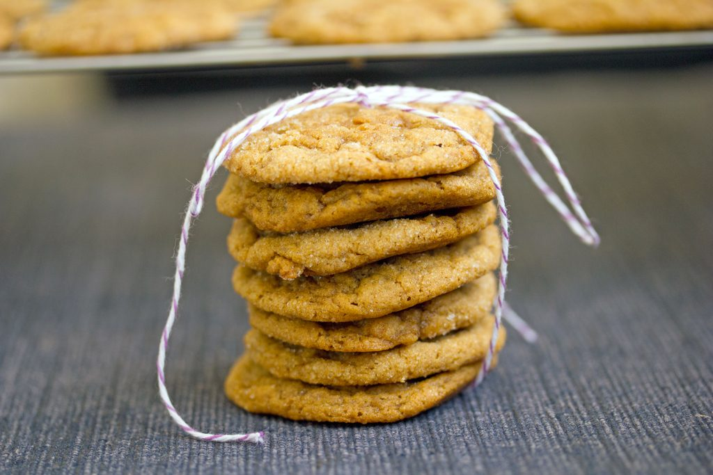 Landscape head-on closeup view of a stack of pumpkin toffee gingersnaps tied up with bakers twine