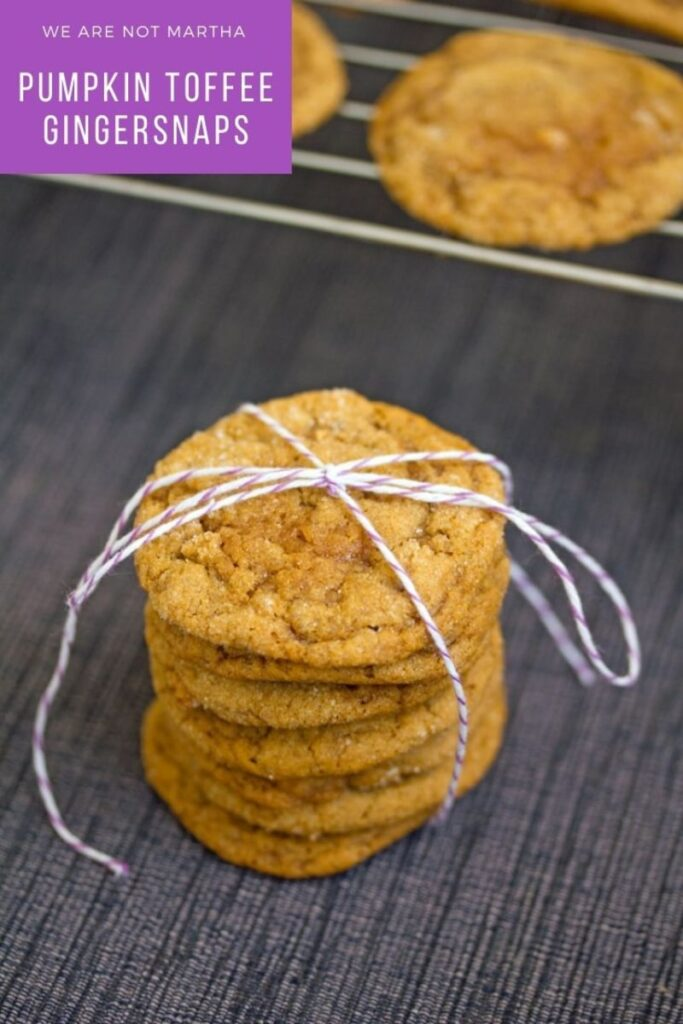 These Pumpkin Gingersnaps are loaded with toffee bits and lots of deliciously sweet fall flavors | wearenotmartha.com #gingersnaps #pumpkincookies #cookies #fallcookies #pumpkinrecipes #toffeebits