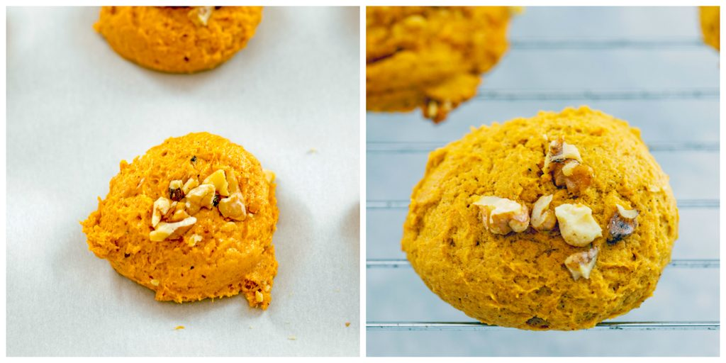 Collage showing pumpkin whoopie pie batter topped with walnuts on baking sheet and whoopie pie cookies just out of the oven cooling on baking rack