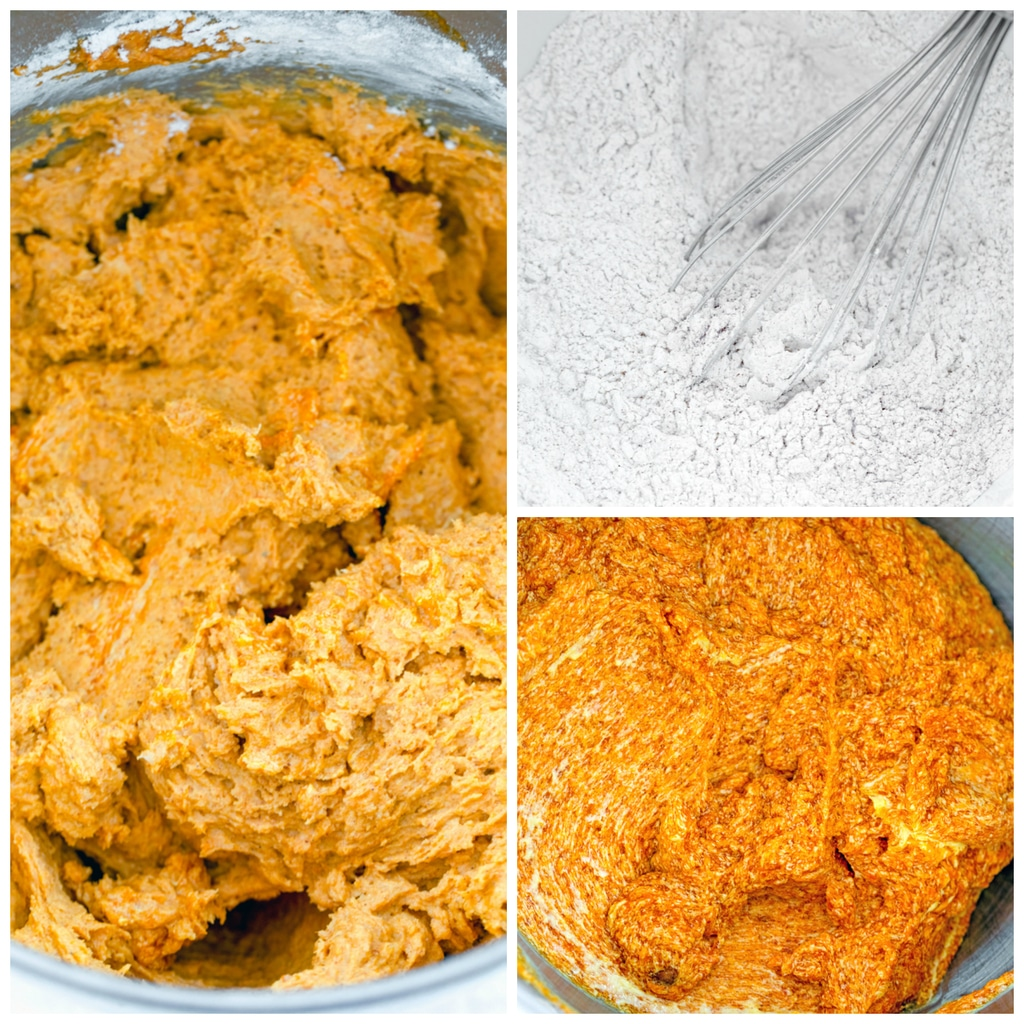 Collage showing process for making pumpkin whoopie pies, including whoopie pie batter in mixing bowl, dry ingredients whisked together, and pumpkin and brown sugar beaten together in bowl