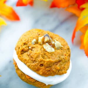 Sweet and tangy marshmallow cream sandwiched between light and fluffy pumpkin cookies. These Pumpkin Whoopie Pies are the perfect fall dessert!