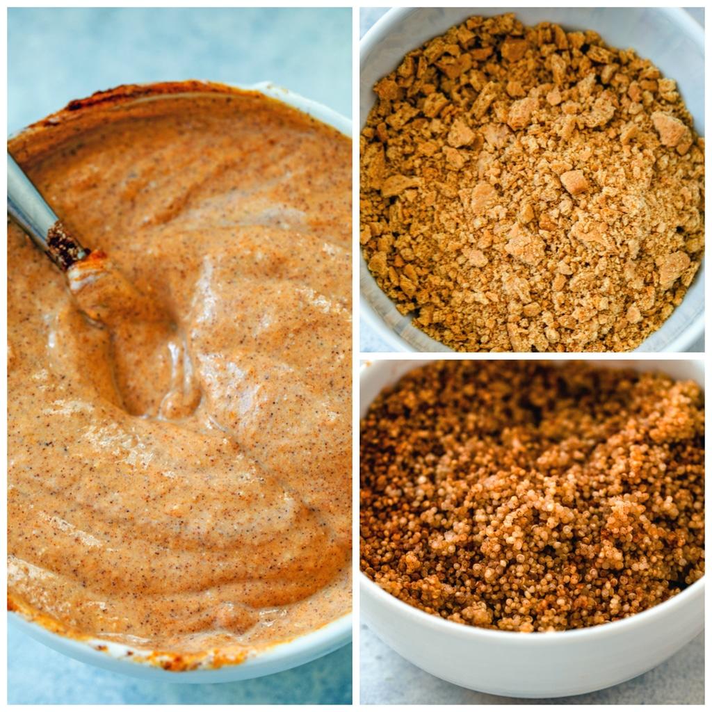 Collage showing process for making pumpkin quinoa parfait, including bowl of pumpkin pie yogurt, bowl of graham cracker crumbs, and bowl of cinnamon quinoa