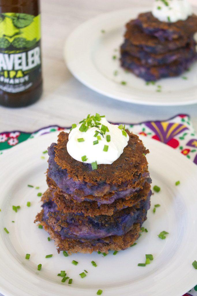 Purple Mashed Potato Pancakes with Garlic and Pancetta | wearenotmartha.com