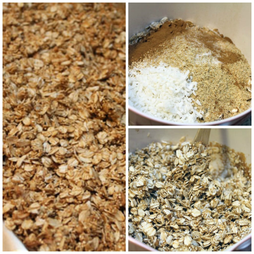 Collage showing the quinoa granola making process, including granola ingredients being stirred in a bowl and granola being spread on baking sheet