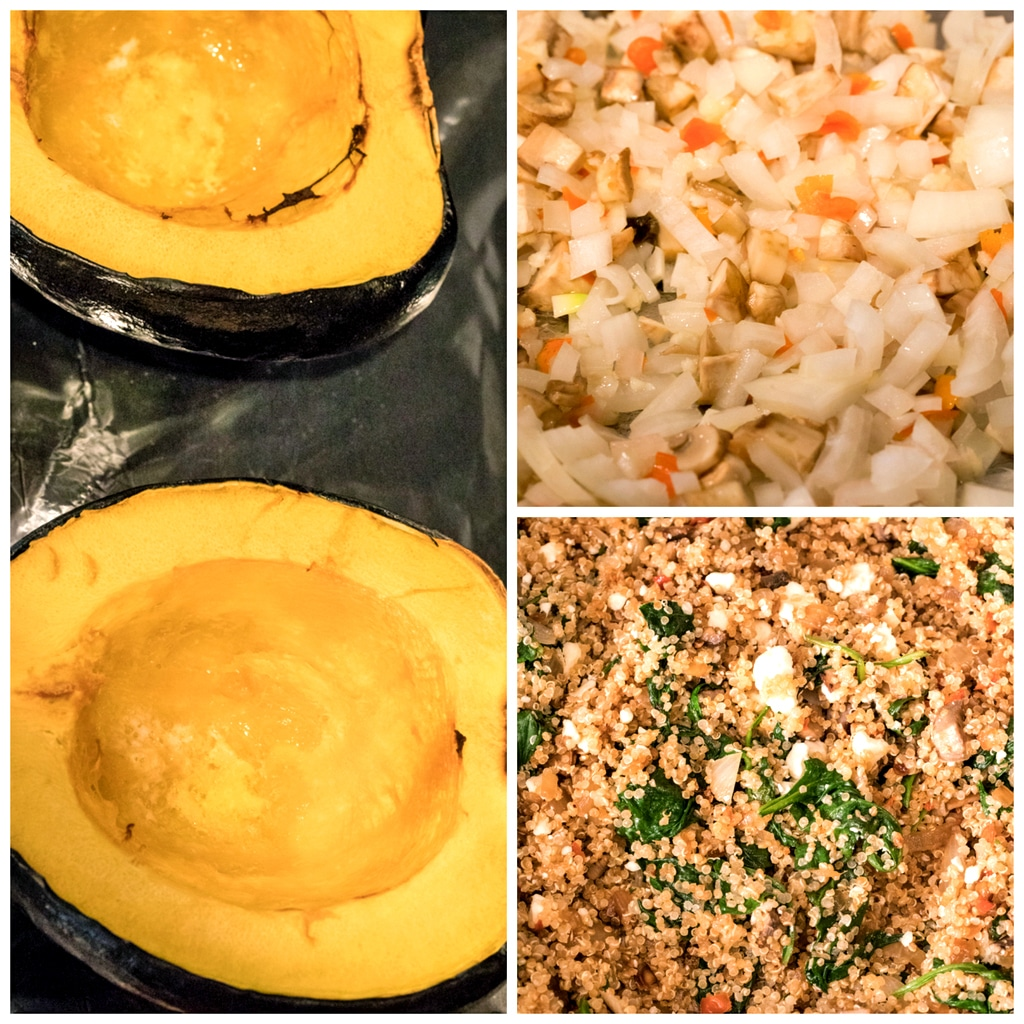 Collage showing process for making quinoa-stuffed acorn squash, including two acorn squash halves roasted; onion, mushroom, and habanero mixture; and quinoa mixed with spinach, feta, onions, and mushrooms
