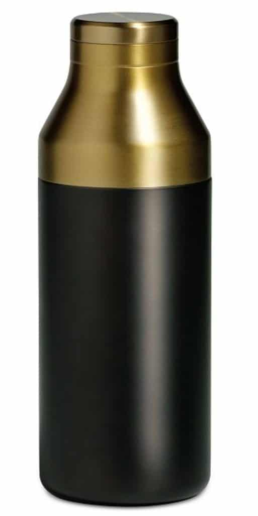 Head-on view of black and gold Rabbit cocktail shaker