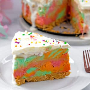 Head-on view of a slice of rainbow sherbet cake with rest of cake in background