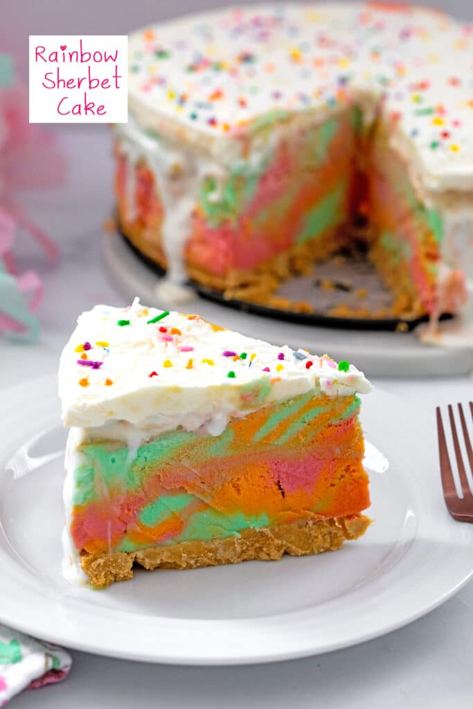 Head-on view of a slice of rainbow sherbet cake with rest of cake in background and recipe title at top