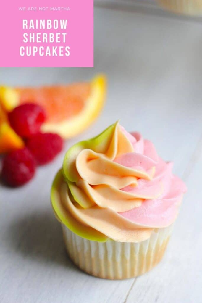 Rainbow Sherbet Cupcakes -- These Rainbow Sherbet Cupcakes pull all the sweet fruity flavors of rainbow sherbet into cupcake form. Raspberry, orange, and lime combine forces in both the cake and the buttercream frosting | wearenotmartha.com #rainbowsherbet #sherbet #cupcakes #summerdesserts
