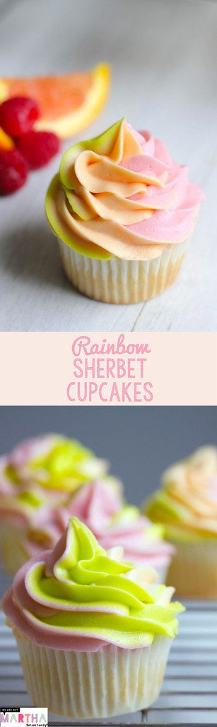 Rainbow Sherbet Cupcakes -- Raspberry, Orange, and Lime Flavors come together in this reimagined summertime treat | wearenotmartha.com