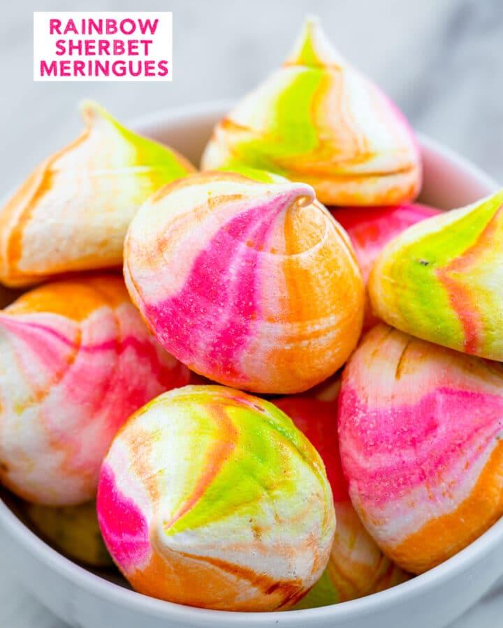 Rainbow sherbet meringue cookies in a bowl