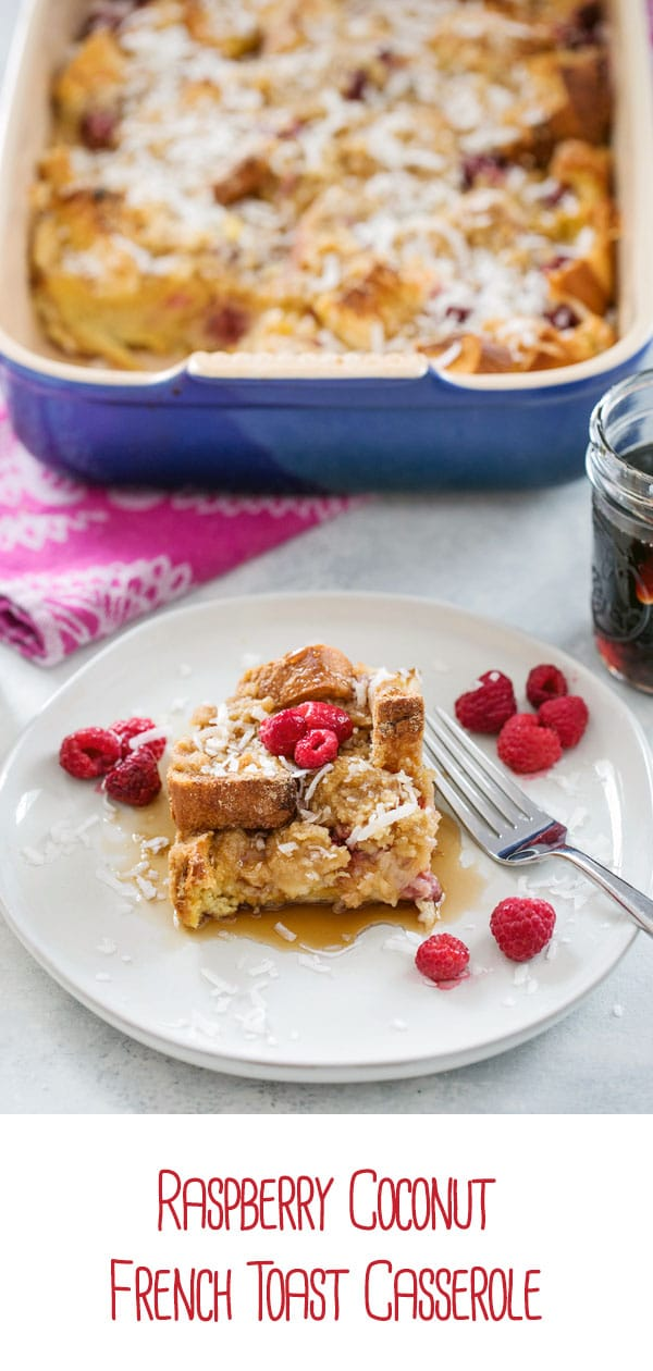 Raspberry Coconut French Toast Casserole -- Looking for the perfect make-ahead brunch dish to serve to a crowd? This french toast bake will ensure you have something fabulous to wake up to | wearenotmartha.com #frenchtoast #brunch #raspberries #coconut #breakfast #frenchtoastcasserole