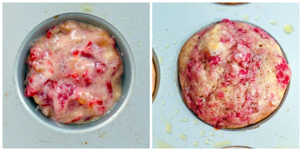 Overhead view of a muffin tin with raspberry, mango, ginger muffin batter in it and muffin tin with muffins baked and just out of the oven
