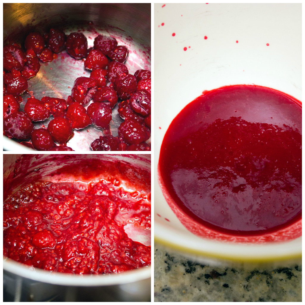 A collage showing the making of raspberry puree for the Rainbow Sherbet buttercream frosting