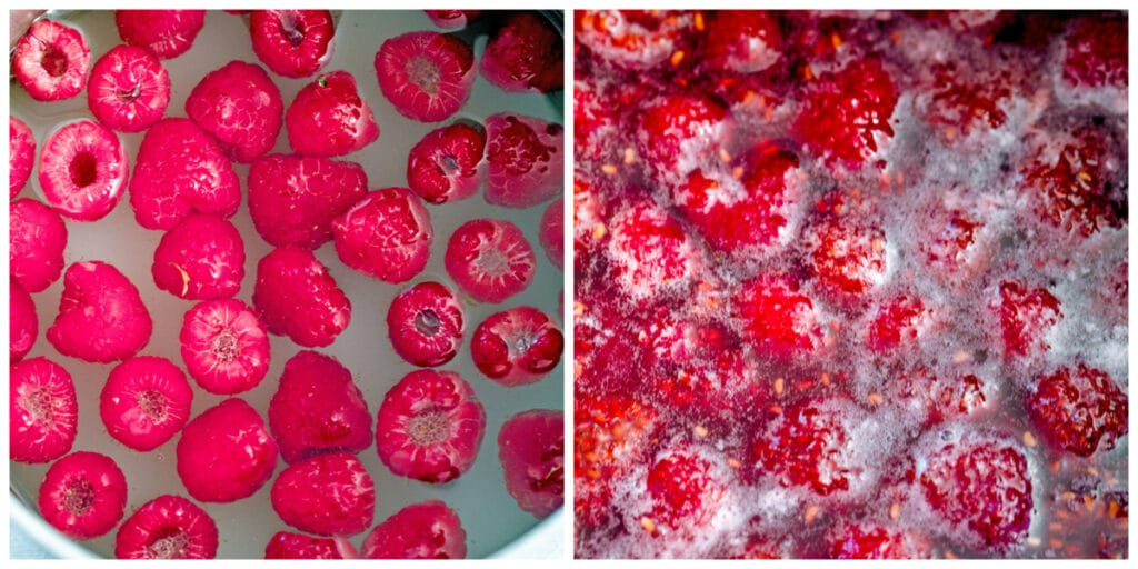 Collage with one photo showing raspberries in sugar water in saucepan and one photo showing raspberries breaking down in simmering sugar water