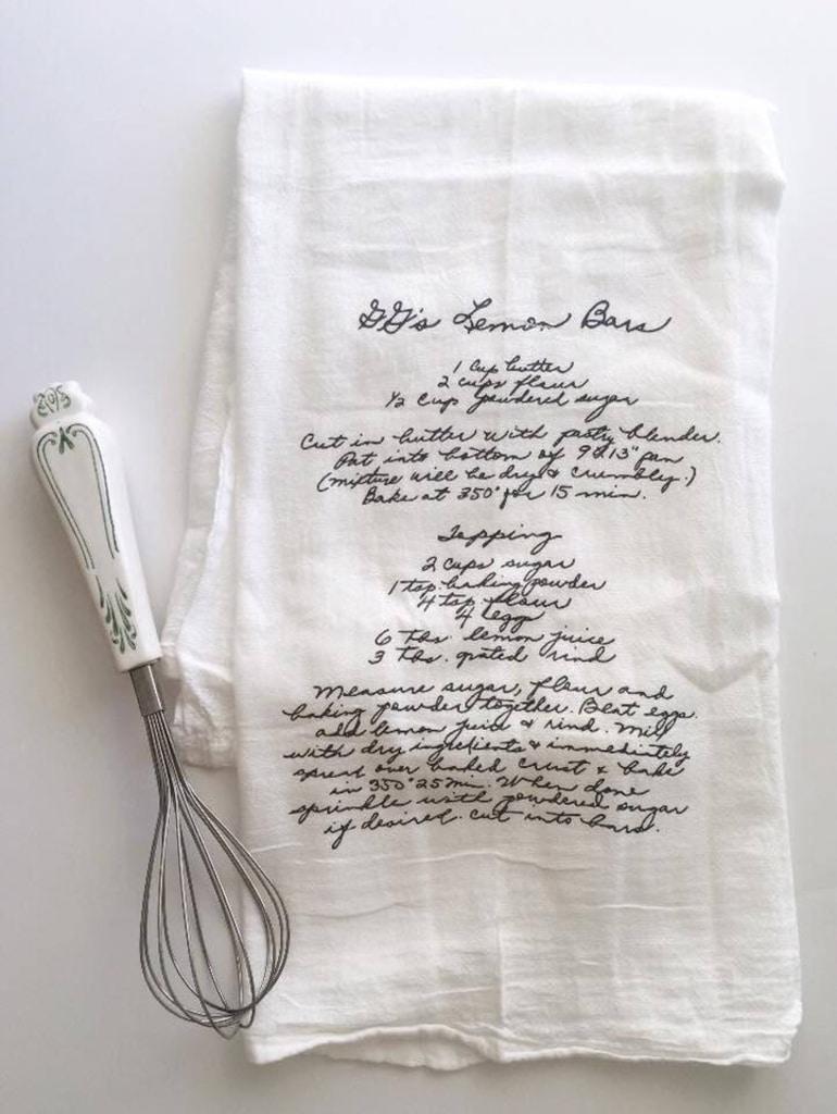 Tea towel with hand-written recipe on it