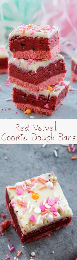 Red Velvet Cookie Dough Bars -- Perfect for showing your love this Valentine's Day, these no-bake treats are composed of a pink cookie crust, a luscious layer of chocolate chip red velvet cookie dough, and a white chocolate ganache topping | wearenotmartha.com