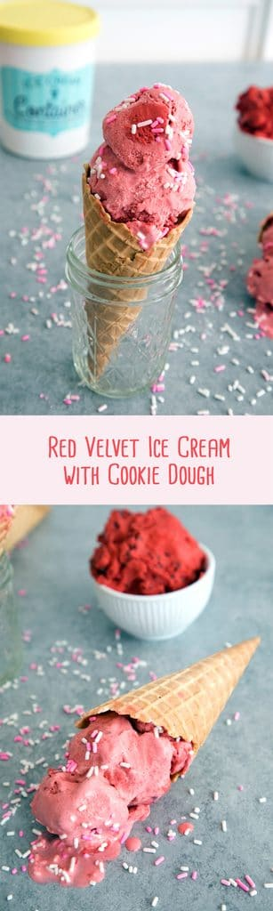 Red Velvet Ice Cream with Red Velvet Cookie Dough | wearenotmartha.com