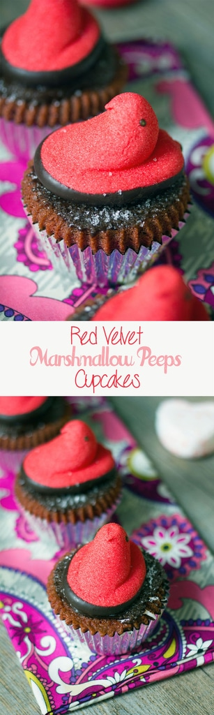 Red Velvet Marshmallow Peeps Cupcakes -- The perfect Valentine's Day dessert. Who says Peeps are just for Easter? | wearenotmartha.com