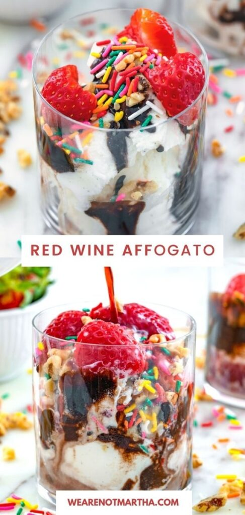 Just add red wine to vanilla ice cream, add on some toppings, and your new favorite boozy dessert is born! This red wine affogato is always a party hit! | wearenotmartha.com #affogatos #winedesserts #icecreamdesserts #boozydesserts
