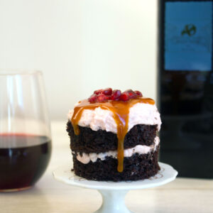 Red Wine Chocolate Mini Layer Cakes -- Paired with the Kuvée Wine System | wearenotmartha.com