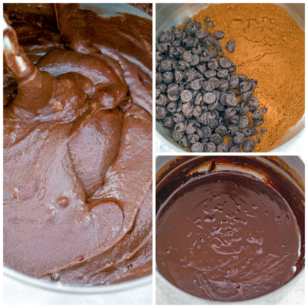 Collage showing process for making red wine cupcake batter, including chocolate chips and cocoa powder in a bowl, chocolate chips and cocoa powder melted into a smooth mixture, and final chocolate red wine cupcake batter in bowl
