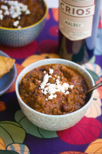 Red Wine Pumpkin Chili -- All my favorite ingredients in one cozy bowl | wearenotmartha.com