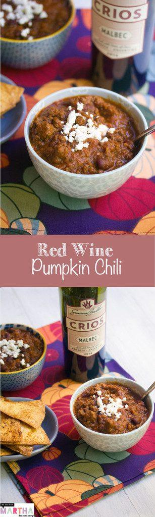 Red Wine Pumpkin Chili -- All my favorite ingredients in one cozy bowl   wearenotmartha.com