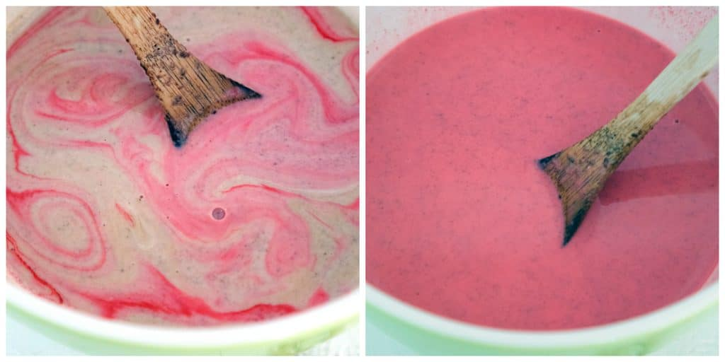 Collage showing process for making red velvet ice cream, including cream/milk mixture being stirred with red food coloring and ice cream mixture in bowl ready to chill in fridge