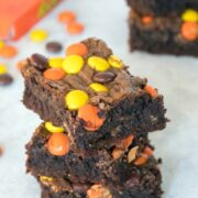 Reese's Pieces Peanut Buttery Brownies -- These brownies are packed with peanut butter, chocolate, Reese's Peanut Butter Cups, and Reese's Pieces. Peanut butter lovers, rejoice! | wearenotmartha.com