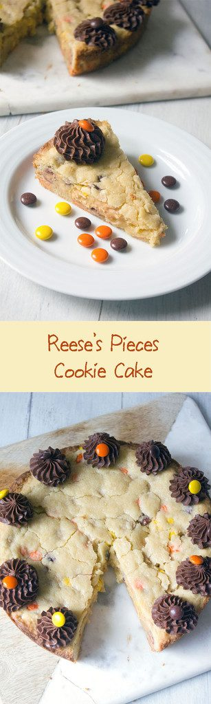 Reese's Pieces Cookie Cake -- Peanut butter and chocolate all in giant cookie form | wearenotmartha.com