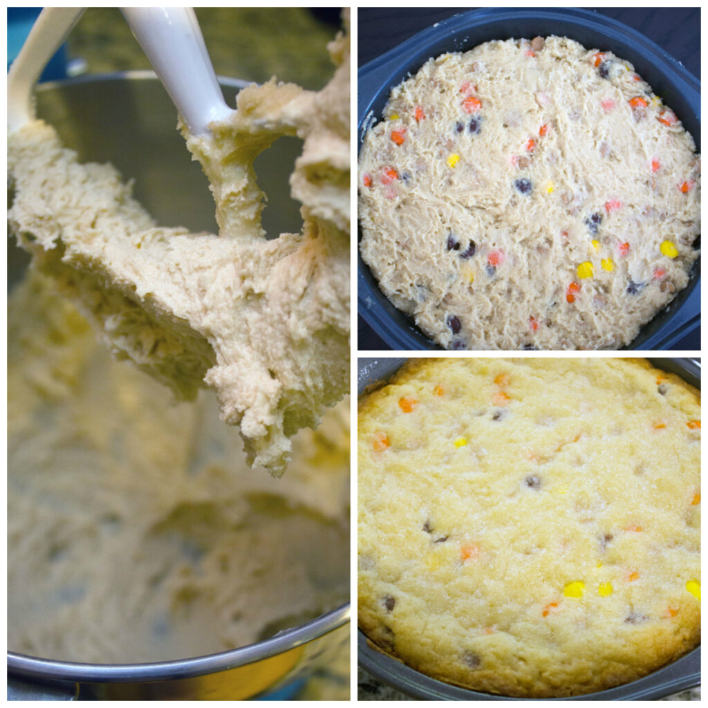 Collage showing process for making Reese's Pieces cookie cake, including batter in mixer, cookie batter in pan, and giant cookie right out of the oven