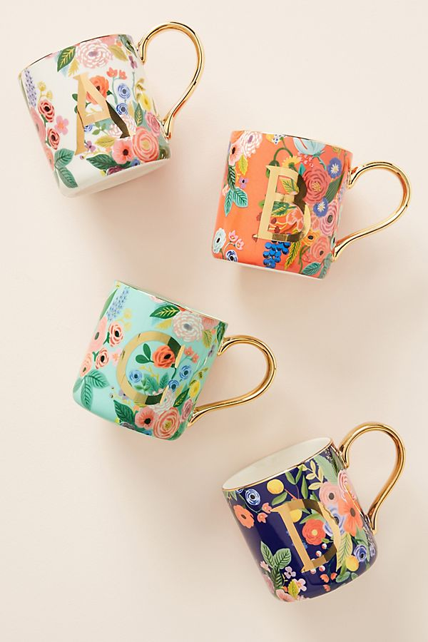 Pretty monogrammed mugs from Anthropologie and Rifle Paper Co.