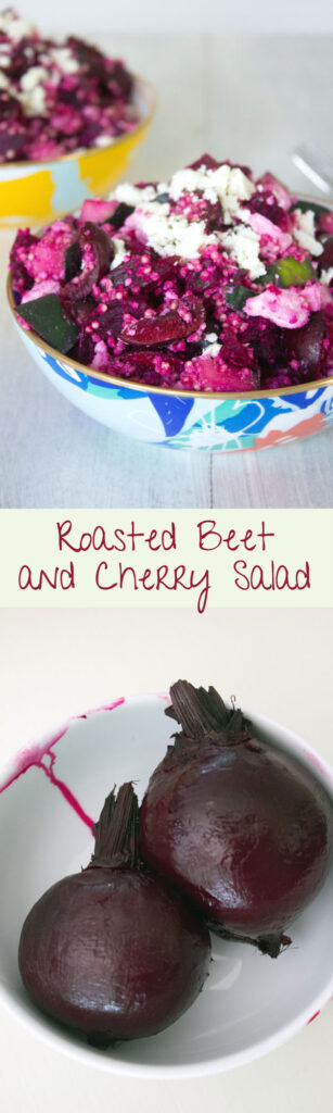 Roasted Beet and Cherry Salad -- Beets, cherries, cucumber, quinoa, and feta make up this perfect summertime or early fall salad | wearenotmartha.com