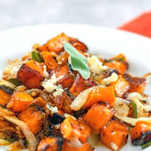 Roasted Butternut Squash With Caramelized Onions, Gorgonzola, and Crispy Fried Sage