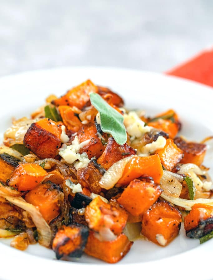Roasted Butternut Squash with Caramelized Onions and Gorgonzola -- This Roasted Butternut Squash with Caramelized Onions and Gorgonzola side dish incorporates just a few simple ingredients, but is packed with robust fall flavor | wearenotmartha.com
