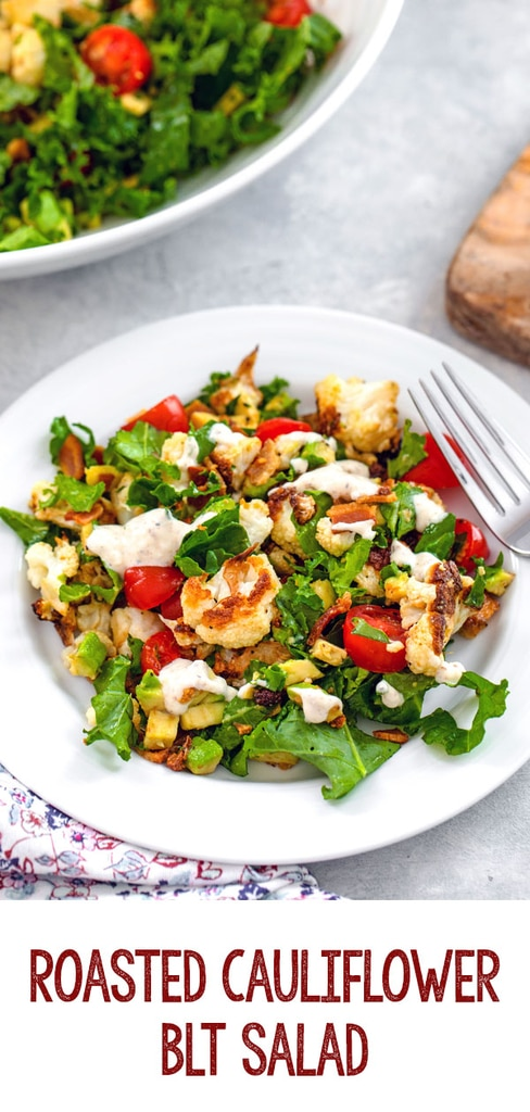 Roasted Cauliflower BLT Salad -- This Roasted Cauliflower BLT Salad uses kale instead of lettuce and also includes avocado and a creamy lemon dressing... It's enough to turn anyone into a cauliflower fan! | wearenotmartha.com #cauliflower #salads #blt #bacon