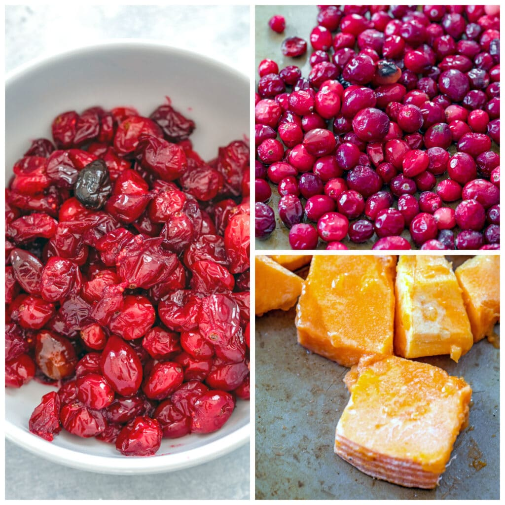 Collage showing process for roasting cranberries and squash, including both on baking sheet and cranberries roasted and out of the oven