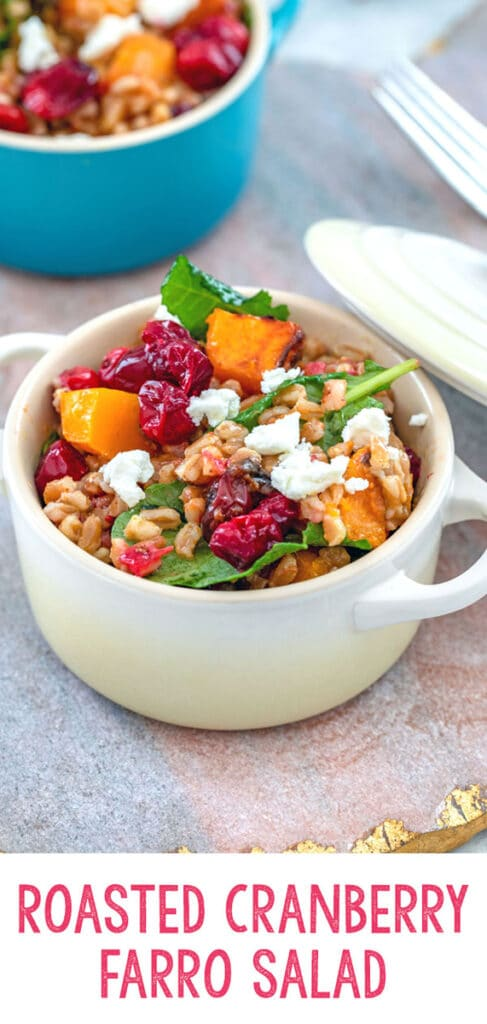 Roasted Cranberry Farro Salad with Curry Dressing -- This hearty cranberry farro salad is packed with the delicious flavors of butternut squash, tart cranberries, creamy goat cheese, and a yummy curry dressing. It makes for a delicious side dish or satisfying lunch | wearenotmartha.com #cranberries #butternutsquash #farro #healthysalads