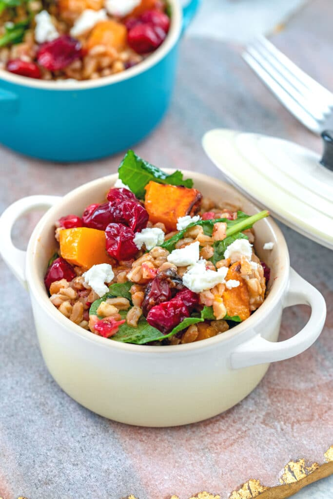 View of a small white cocotte filled with cranberry farro salad with butternut squash, baby kale, and goat cheese, with another cocotte in background